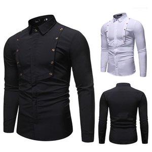 Shirt Herren Langarm Revers Kleidung Solid Color Einreiher Homme Tops Frühlings-Designer Herren Splice