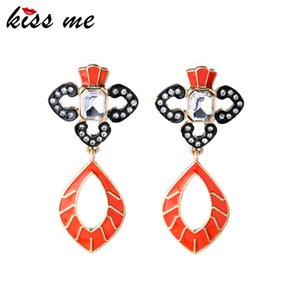 Unique Modern Women Vintage Hollow Out Enamel Inlay Crystal Pendant Earrings Factory Wholesale