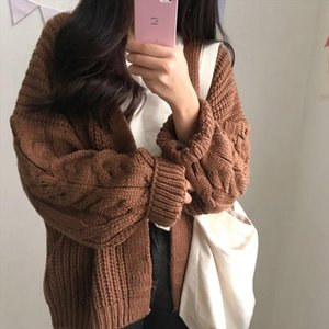 Korean Winter Womens New 2019 Twist Loose Long Sleeve Knit Sweater Cardigan Coat Thick Winter Women Harajuku Cardigans Sweater