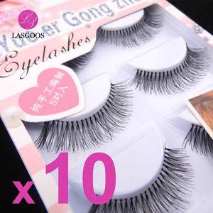 LASGOOS 50 Pairs Pretty Lady Natural Looking False Eyelashes Long Handmade Fake Eye Lashes Extension Makeup Tools HW-7