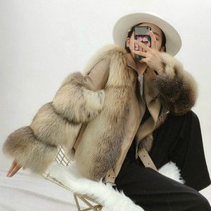 OFTBUY 2020 Autumn Winter Jacket Women New Real Fur Coat Motorcycle Natural Fox Fur Coat Genuine Sheep Skin Leather Outerwear