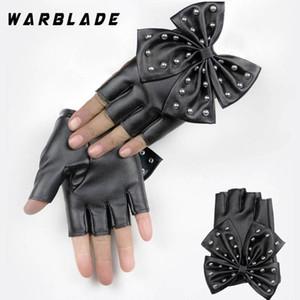Warbdamenlederhandschuhe Schwarz Fingerlose Handschuhe PU-Leder großer Bogen-Handschuhe Halbfinger Damen Luvas Tanzen 2020
