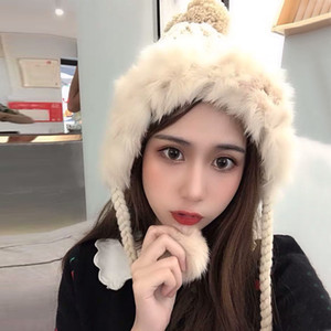 Women Bomber Hat Autumn Winter Ear Protection Warm Thick Korean Knitted Cap Sweet Cute Hair Ball Casual Student Girl Hats