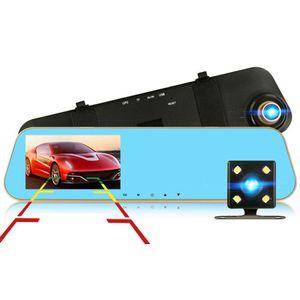 4.3 بوصة سيارة DVR مرآة الرؤية الخلفية IPS HD 1080P كاملة مع كاميرا خلفية عدسة مزدوجة مسجل فيديو