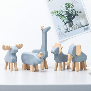 New Design Animal Resin Decoration Lion Elephant Figurine Ornaments Children's Toys Wood Baby Room Nursery Decorate Photo Props
