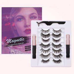 Yeni Arrvial Manyetik Yanlış Eyelashes 7 Çiftler Mıknatıs Likit Eyeliner + Kirpikler Cımbız El Yapımı Kalın Doğal Uzun Sahte Lashes ile ayarla
