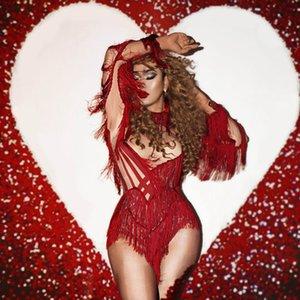 Desgaste de la manga larga roja nueva borlas Sexy Body Bar Club traje de la danza del club nocturno cantante Show de rendimiento de la franja Leotardo Etapa