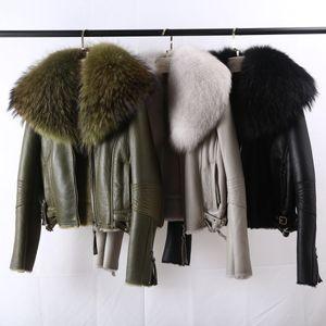 OFTBUY 2020 Escudo real chaqueta de piel de invierno Mujeres del mapache cuello de piel natural de doble cara de piel de oveja de cuero genuino Merino Outwear