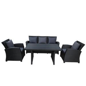 Spedizione gratuita Outdoor Patio Furniture Set 4 pezzi di conversazione Set Nero mobili in vimini divano insieme con cuscini Grigio Scuro WY000055AAB