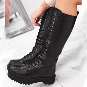 Sarairis Brand New Fashion Dropship Flache Plattform Lace Up Winterschuhe Frauen Alligator Reitstiefel Motorrad-Stiefel
