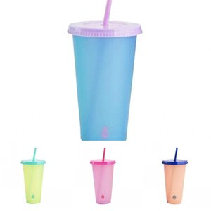 Lid With Cups Changing Color 5 Material Reusable Clear Sensing B2 Coffee Mug Juice Straw Tumbler Temperature Plastic Exercise Pp 5hb Fa Mpig