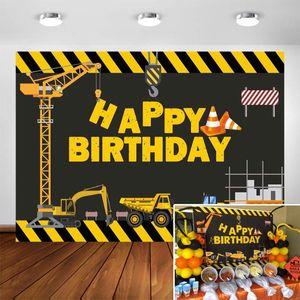 Строительство Тема Birthday Party Фото Фон - самосвал День рождения фон торт Таблица Мальчики украшение