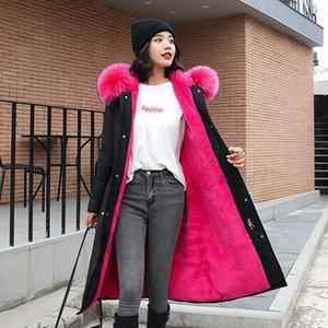 Nuovo 2020 Collezione Donna Inverno cappotto del rivestimento Ci cappuccio con collo in pelliccia al ginocchio caldo donne Parka lungo Slim Spesso FANMUER