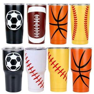 Isolations-Cup Tasse Softball Baseball Isolierkannen Thermos Edelstahl Insulated Thermos Kreative Baseball Autotasse 30 Unzen GWD1011