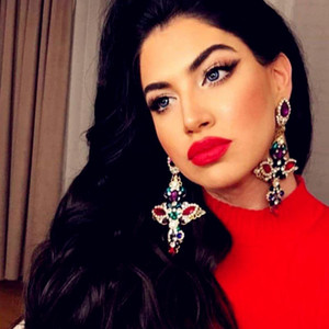 New Design Baroque Style Multicolors Rhinestone Big Cross Dangle Earrings Jewelry Maxi Ladys' Statement Earrings Accessories