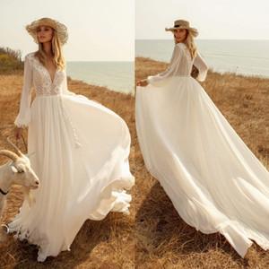 Fashion Lace Bohemian Wedding Dresses Deep V Neck A Line Long Sleeves Bridal Gowns Sweep Train Chiffon robe de mariée