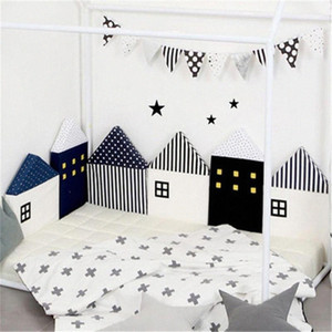 Kidlove Baby Cute Crib Bumper Nordic Small House Bed Cushion Protector Infant Cot Around Pillows BabyRoom Decor For Girl Boy w8eo#