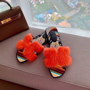 Hermes slippers 2020 Livraison gratuite français nouveau Lian pantoufles d'été de mode en cuir femmes chaussures épais et confortables sandales haut coton taille de vadrouille