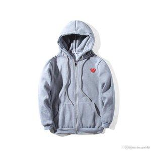 패션 남성 디자이너 붉은 마음 흰색 commes 데면 GARCONS 캐주얼 스포츠 용 재킷의 일종 재킷 겨울 코트 오프 CDG 플레이 까마귀