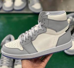 diior de primera calidad y Niike edición limitada de las articulaciones zapatos hombres zapatos deportivos baloncesto de las mujeres de cuero real de las zapatillas de deporte de alto arriba del zapato consejo de moda
