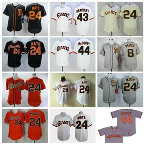 San Francisco Beyzbol Forması 8 Hunter Pence Jersey 24 Willie Mays 43 Dave Dravecky 44 Willie McCovey Kazak Vintage 012