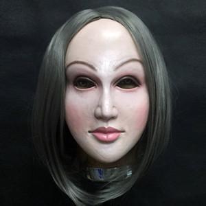 Realista máscara Mujer Disfraz de Halloween Auto látex realista maske Crossdresser muñeca máscara Señora Y200103 Skin Mask