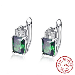 New Silver 925 Jewelry Green Hope Emerald Cut 925 Sterling Silver Earrings Emerald Clip Earrings for Women with Stones