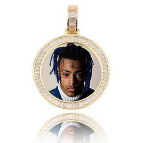 """Memoria en el oro 14K imagen personalizados colgante de la foto helado con 18"""" 20"""" 24"""" cadena de la cuerda circón collar de Bling para hombre Hip hop Roca joyería"""