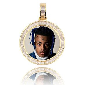 "14k Gold Custom Made Memorybild Foto Anhänger Iced mit 18 ""20"" 24 ""Seilkette Halskette Zirkon Bling Mens Hip Hop Rock Schmuck"