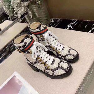 Gucci boots invierno Martin botas de mujer de diseño Zapatos de gamuza Carta de tacón alto botas de metal de lujo de las señoras de moda las botas cortas de tamaño grande 35-42
