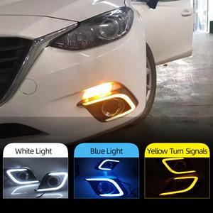 1 пара DRL для Mazda 3 Axela 2014 2015 2016 Дневные ходовые огни противотуманная фара крышка лампы 12V Дневной свет с желтым