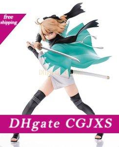 1pcs 24 0,5 centimetri PVC Anime giapponese Figura Aquamarine destino Saber Okita Souji Ver Action Figure da collezione Girl Giocattoli Brinquedos
