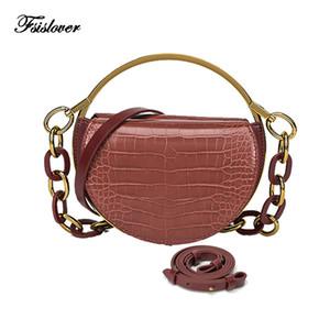 Sac à bandoulière de FSISLOVER femmes de motif crocodile PU Sacs à bandoulière de mode en cuir pour Femme 2020 Acrylique Bracelet Selle