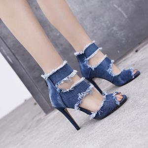 New Qualidade das senhoras azuis jeans largamente largura High Heeled Voltar Zip Up Ankle Strap Mulheres Sandals pronto Stock