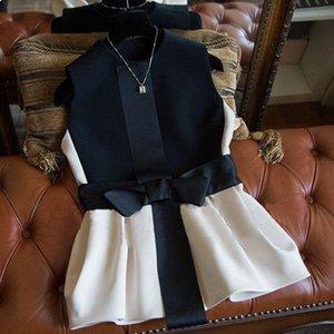 Vest Women 2020 New Fashion High Quality Elegant Bow Patten Veste Femme Sleeveless Jackets Coat Spring Waistcoat Colete Feminino CX200813