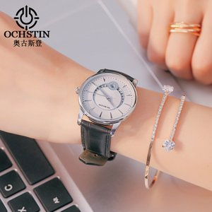 OCHSTIN Frauen-Armband-Uhr-Mode-Quarz-Uhr-Frauen Rhinestone-Diamant-Leder-beiläufiges Kleid weiße Armbanduhr
