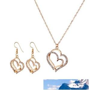 Princess Bride Bridesmaid Romantic Wedding Creative Necklace Earring Set Fashion Luxury Crystal Charm Goldplated Silver Heart Accessories