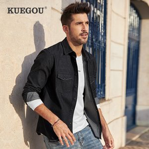 KUEGOU algodão roupas de outono denim camisa homens negros camisas manga longa top coat lazer moda plus size BC-6996 LJ200928