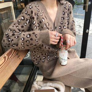 Leopar Hırka Kazak Casual Uzun Kollu Kazak Moda Örme Tek Breasted Coat Kadınlar V-Yaka