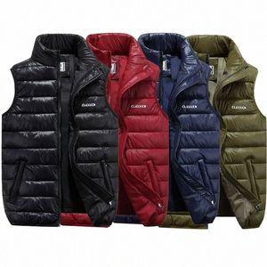 THEFOUND 2019 nuovo inverno mens down gilet trapuntato corpo riscaldatore caldo senza maniche imbottito giacca cappotto QE4U #