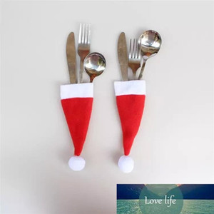 400pcs Christmas hat pull brush cap 6X13cm for knife and fork set table wine bottle decoration Party