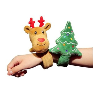 Flash Christmas Slap Snap Bracelet Patting Circle Xmas Children Gift Santa Claus Christmas Tree Deer Patted Ring Party Kid Toy DBC VT1075
