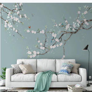 3d landscape wallpaper Hand-painted flowers and birds wallpapers plum blossom new Chinese sofa TV background wall