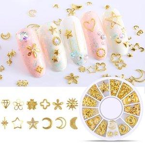 1 Roue Boîte Argent Métal Or Nail Art Décorations creux Mixte New Designs bricolage ongles Goujons Accessoires de manucure rivets