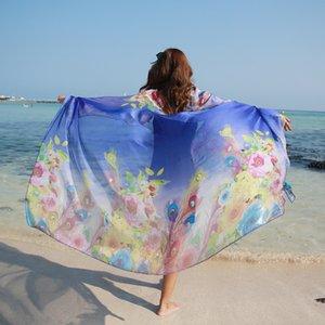 190 * 125см 2020 Лето печати Шелковый шарф Крупногабаритные шифон шарф женщин парео Пляж Cover Up Wrap саронг Солнцезащитный Длинные Мыс Женский