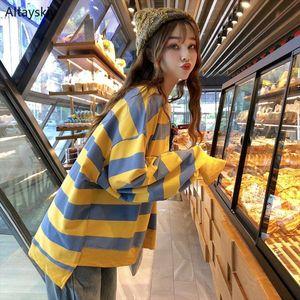 Hoodies Women 2020 New Korean Style Striped Fashion Chic Simple Daily Leisure Long sleeve Kawaii Sweet Students Girls Womens New