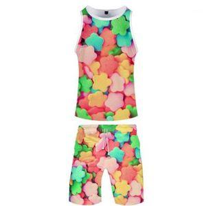 Conjuntos mangas de impresión digital 3D Fahion casual chaleco cortocircuito de la playa Pant trajes de diseño de verano de hombres corriente del hombre chándales dulces flojo