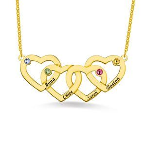 AILIN Personalized Women Four Heart Shaped Pendant In Three Color For Her Custom Birthstone And Name Necklace For Lady
