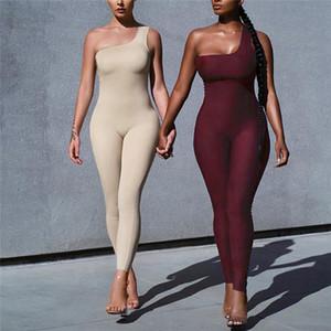 Женщины с плеча Одноместный ремень Sexy Комбинезон Rompers New Solid Color Bodycon Спорт Комбинезон Длинные брюки Летние пиджаки