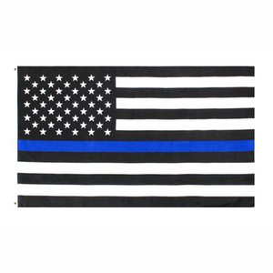 fabbrica diretta 3x5Fts all'ingrosso 90cmx150cm Law Enforcement Officers polizia sottile linea blu USA US American Flag AHB1088